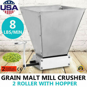 Malt Mill 2-roller Barley Grinder Crusher Manual Adjustable Barley Grain Mill