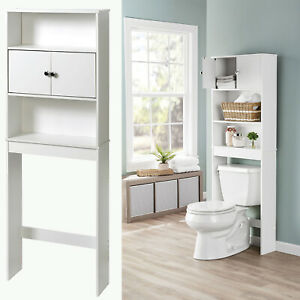 Bathroom Storage Over The Toilet Space Saver Rack Shelf Cabinet Home White New