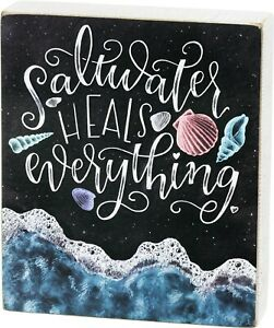 Saltwater Heals Everything Chalkboard Wood Box Sign 7 Inches