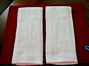 Set of 2 SOLID WHITE KITCHEN TOWELS NWOT. Ships Free