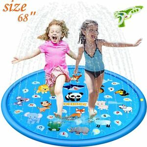 TOHIBEE 3 in 1 Sprinkler for Kids Splash Pad Play Mat 68 Baby Wading Pool for