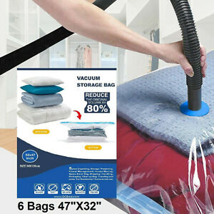 6 PACK Jumbo Extra Large Space Saver Vacuum Seal Storage Bag Strong Organizer XL