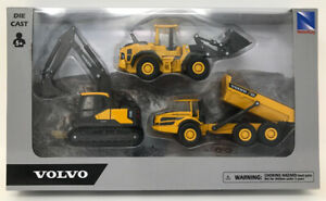 Volvo Construction Dump Excavator Loader Playset New Ray Diecast