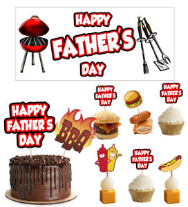 Fathers Day Decorations Decorating Banners Food Cupcake Toppers BBQ Chef Cook