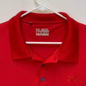 Under Armour Mens Loose Fit Polo Shirt Red 2XL $23.97