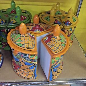 TALAVERA MEXICAN POTTERY - CIRCLE TRIANGLE CANISTER SET (H)  ***FREE FREIGHT***
