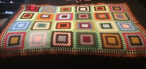 """Vintage Granny Square Crocheted Blanket Throw Afghan 40"""" X 62"""""""