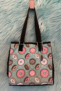 """Fit&Fresh Lunch Bag Tote Donut Insulated Food Drink Bag Black Green 10""""x10""""x4.5"""""""