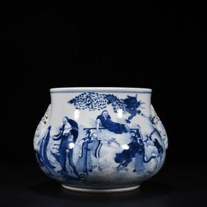 9.4 Old kangxi marked blue and white Porcelain luohan douber ear Incense Burner