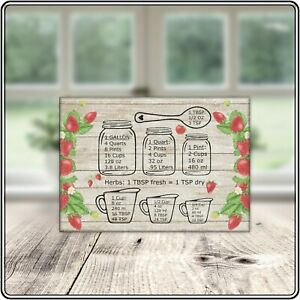 Strawberry Measure Theme Sublimated Glass Cutting Board Bar Kitchen Gift