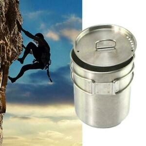 701 800ml Stainless Steel Camping Hiking Outdoor Kettle Campfire Coffee Pot T7M7