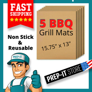 Reusable 5 Pc Copper Grill Mats Baking Non Stick BBQ Pad Bake Cooking Sheet Line
