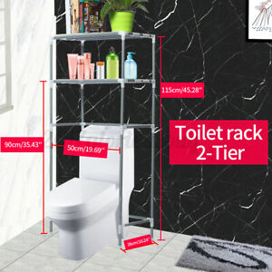 2 Tier Bathroom Over The Toilet Storage Rack Shelf Space Saver Towel Organizer