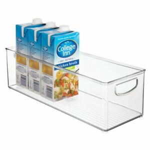 mDesign Plastic Kitchen Pantry Cabinet Food Storage with Handles, Clear