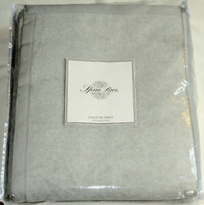 Sferra Chalet * KING BLANKET * Grey, Soft Brushed Cotton, NEW