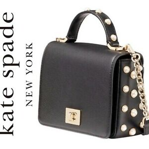 NWT Kate Spade Maisie Serrano Place Pearl Crossbody Bag Black $299 Retail