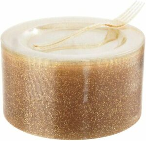 72 Pieces Plastic Dessert Plates 7.5 and 72 Pieces Gold Disposable Forks 7.4