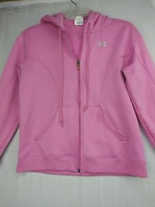 Under Armour Womens Loose Zipper Front Hooded Jacket, Size S Pink $15.12