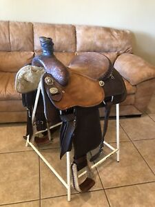 "15"" Crates Mike Beers Roping Saddle Good Condition"