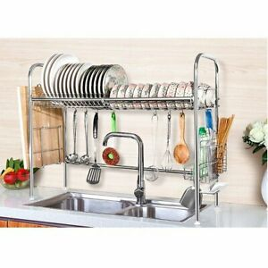 Stainless steel Dish Drying Rack Over Sink Kitchen Shelf Cutlery Organizer