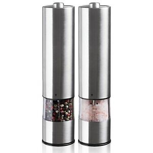 URBAN NOON ELECTRIC SALT AND PEPPER GRINDER SET BATTERY OPERATED STAINLESS STEEL
