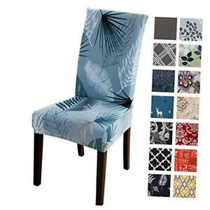 Printed Dining Chair Slipcovers, Removable Washable Soft Spandex Pack of 4 Blue