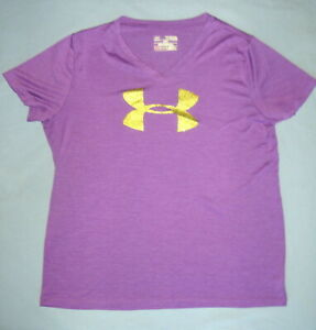 Under Armour Heat Gear Loose Purple V Neck Shirt Top Youth XL YXL EUC $10.99