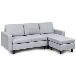 Convertible Sectional Sofa Couch Fabric L Shaped Couch w Reversible Chaise Gray