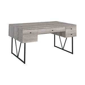 Coaster Home 4 Drawer Home Office Writing Desk, Grey Driftwood Finish (Used)