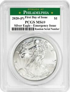 2020 (P) $1 Silver American Eagle PCGS MS69 FDOI Emergency Production $66.99