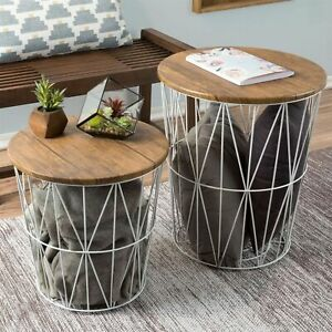 Nesting End Tables Metal Basket Wooden Top 20 and 15 In Multi Use Furniture