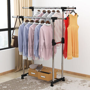 Adjustable Rail Scalable Portable Clothes Hanger Rolling Garment Shelf Rack US