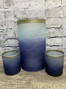 Yankee Candle 3pc Matching Set Candle Holders Twlight Duck Votive pillar Cylinde