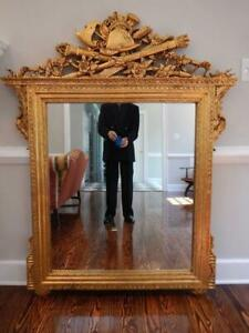 EUC Unique Large Gilt Gilded French Napoleonic Empire NeoClassic Designer Mirror $1090.00