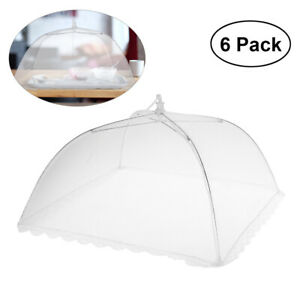 6X White Food Cover Dome 16 Collapsible Picnic Food Covers Mesh Food Cover Net