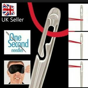 Gold 12 SELF THREADING SEWING NEEDLES ASSORTED SIZES EASY THREAD UK Seller GBP 2.89