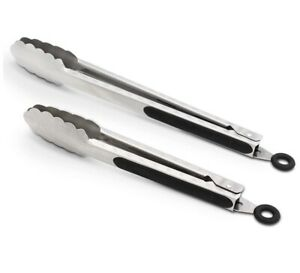 304 Stainless Steel Kitchen Cooking Tongs, 9 and 12 Set of 2 Sturdy Grilling