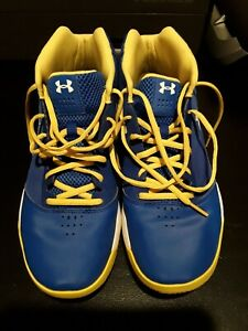 UNDER ARMOUR MEN'S UA JET BASKETBALL SHOE Blue Yellow White Size 10.5 EUC $17.00