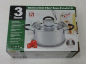 COOK N HOME - 02417 3 Quart Stainless Steel Sauce Pot/Pan with Lid