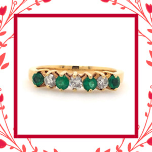Diamond Designs Yellow Gold Round Emerald and Diamond Ring Size 6.75