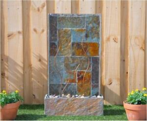 Outdoor Water Fountain with Lights Patio Garden Stone Slate Sculptural Waterfall $348.89