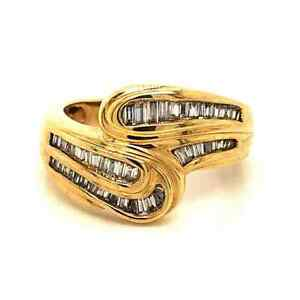 Diamond Designs 14 Karat Yellow Gold Diamond Bypass Ring Size 7.25