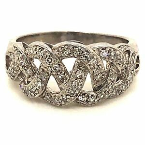Diamond Designs 14 Karat White Gold Braided Diamond Ring Size 7