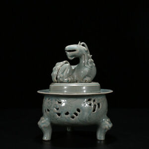 9 Fine Old Chinese Antique Porcelain song cyan glaze Hollow out Incense burner