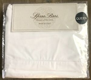 Sferra Queen Sheet Set 100% Cotton Percale Long Staple White Italian Italy
