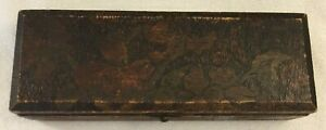 Vintage Wood Folk Tramp Art Floral Rectangular Box Case Holder $14.00