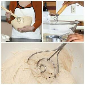 Stainless Steel Danish Dough Whisk with Wood Handle Kitchen Baking Tools Special
