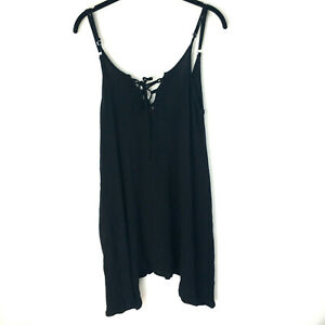 South Moon Under Womens Black Sleeveless Boho Crepe Tunic Top Pockets Medium $14.99