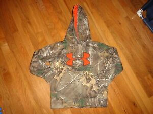 Boys Under Armour Camo Orange Pullover Hoodie Size YSM Excellent Condition $13.99