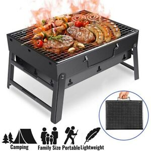 Portable Foldable Barbecue Charcoal Grill Stainless Steel BBQ Camping Cooker US